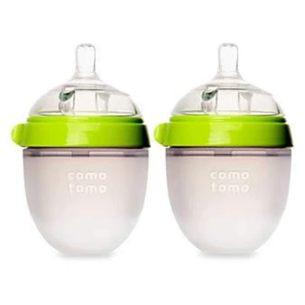 Comotomo 5 oz Hygienic Silicone Natural Flow Green Baby Bottles 2 Count New
