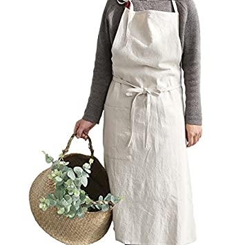 Yopu Reglable Bavoir Tablier De Cuisine En Lin Pour Femme Reglable
