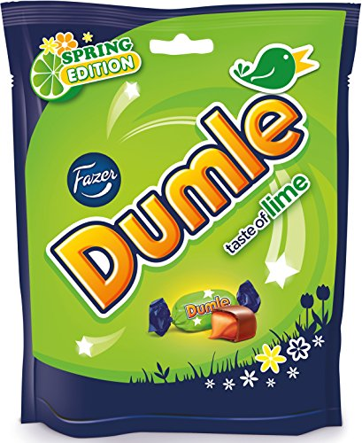 Chocolate Milk Lime (Fazer Dumle Lime - Spring Edition - Original - Finnish - Milk Chocolate - Toffee - Candies - Sweets - Bag 220g)