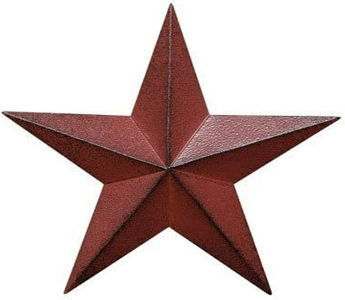 Dimensional Metal Antique Barn Star Rustic Country Primitive Wall Decor,3D Barn Star Indoor Outdoor 4th July Wall Decoration,8 inch (Burgundy)