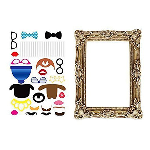 BESTOYARD Photo Booth Props Picture Frame Photo Props Funny Faces Party for Wedding Birthday Baby Shower Graduation 24pcs (Photo Booth Card Frame)