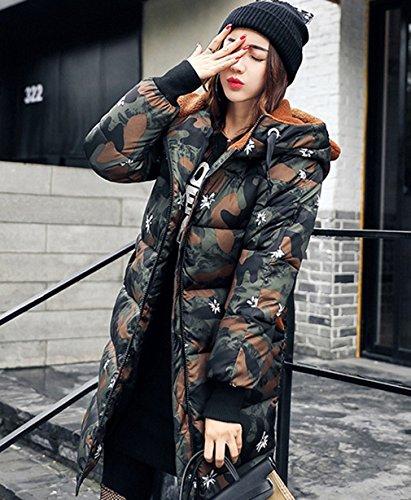 Donne Cappotto Verde Signore Delle Delle Di Coreano Stile Bigood Imbottito Spessore Militare Giù Cappotto Giacca Il BAqTPwnOtx