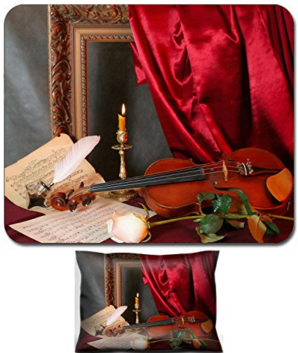 (Liili Mouse Wrist Rest and Small Mousepad Set, 2pc Wrist Support Romantic still life with a violin a flower and a music sheets Photo 3682637)
