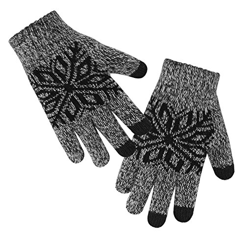 LETHMIK Kids Winter Knit Gloves Children Wool Lining Warm Gloves with Touchscreen Tech Black, One Size (Superior (Boys Wool)