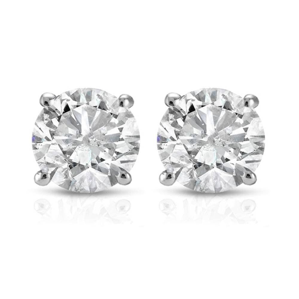 1 ct Round Cut 14K White Gold Diamond Studs Womens Earrings IGI Certified by P3 POMPEII3