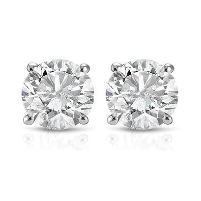 3df009d69 Amazon.com: 1 ct Round Cut 14K White Gold Diamond Studs Womens Earrings IGI  Certified: Jewelry