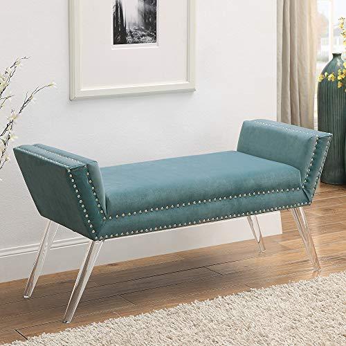 InspiredHome Slate Blue Velvet Bench - Design: Crawford | Modern Acrylic Legs | Upholstered | Nailhead Trim Finish