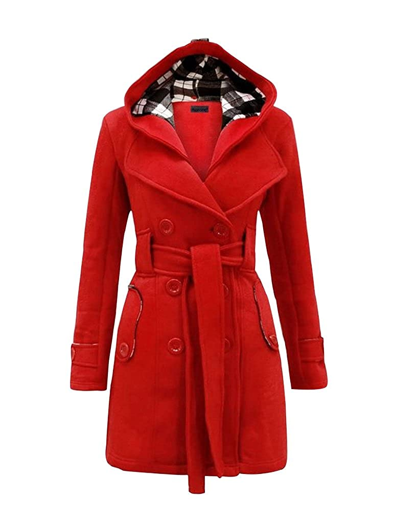 MITIAO Womens Warm Check Hooded Coat With Belt Oversize