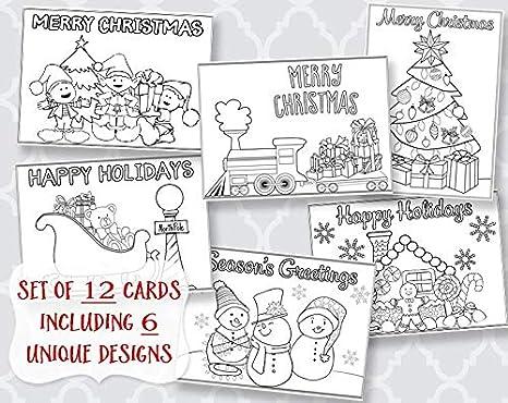 Amazon.com : Christmas, Coloring, Greeting Cards, Holiday Greetings ...
