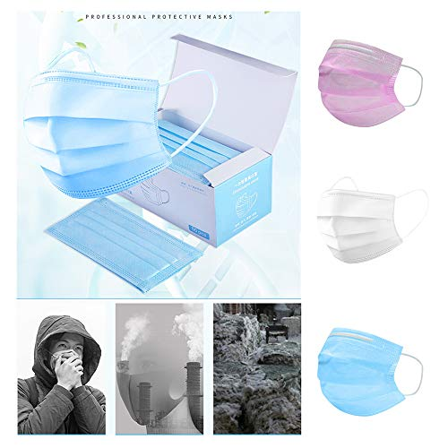 Louyue 3PLY 50Pcs Disposable Face Shied 3 Ply Protective Safety Shied for Dust, Air Pollution with Elastic Earloop (50PC, Blue)