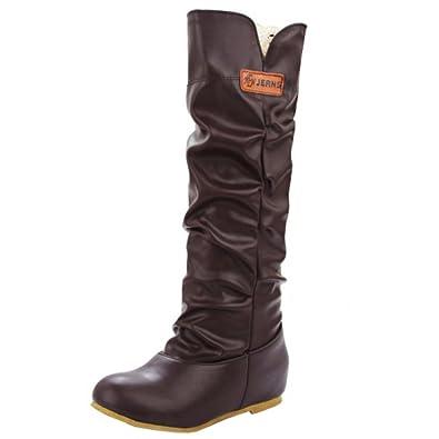 1eaef81316a TAOFFEN Women Indoor Warm Retro Flat Long Boots Knee High Boots (46 ...
