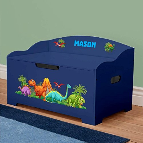DIBSIES Personalization Station Personalized Modern Expressions Dinosaurs Toy Box (Blue with Dinosaur Theme)