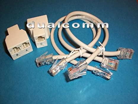 Ethernet RJ45 Splitter Cable Sharing Kit for Two Ethernet Connections over a Single Cable