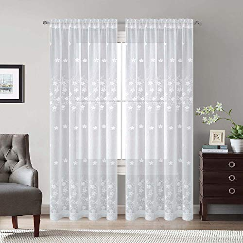 White Rod Pocket Sheer Curtains 96 inches Length, Embroidered Window Curtain Sheer Voile Panels for Living Room & Bedroom, 60x96, Two ()