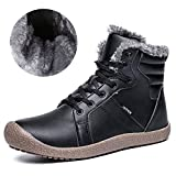 CIOR Mens Snow Boots Lace Up Ankle Sneakers High Top Winter Shoes with Fur Lining-PU.Black.40