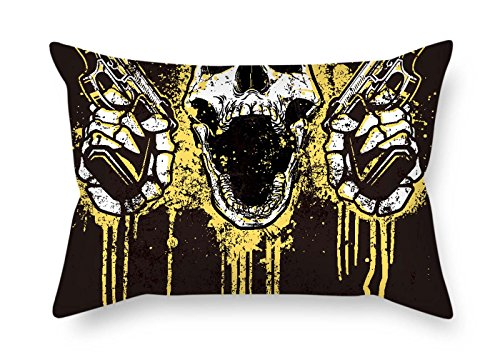 (Throw Pillow Covers of Skull for Bar Seat Lounge Son Car Teens Girls Kids Boys 20 X 30 Inches / 50 by 75 cm(Double Sides))