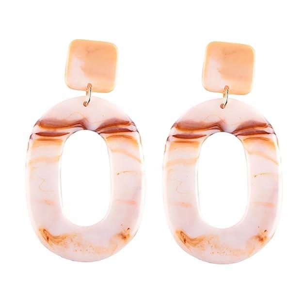 JaneDream Women Bohemian Resin Drop Dangle Earrings Jewelry Statement Long Earrings Eye-catching Gorgeous fmLAVJd