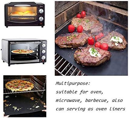 GQC Tapis de Cuisson Barbecue 6 Pièces Feuille Cuisson Barbecue Tapis 40 x 33cm Anti-adhérent et Réutilisable pour Barbecue Électrique Gaz et Charbon (6(40x33) cm)