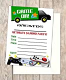Video Game Truck Fill In Blank Invitations, Flat Cards, Set Of 20, Gaming Birthday Party Invitations With Envelopes, Flat Card Invitations, 4.25'' x 5.5''