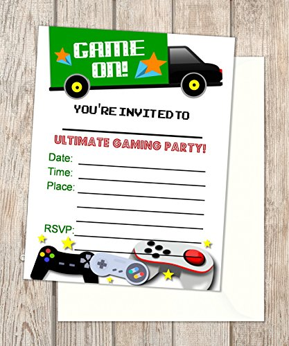 Video Game Truck Fill In Blank Invitations, Flat Cards, Set Of 20, Gaming Birthday Party Invitations With Envelopes, Flat Card Invitations, 4.25
