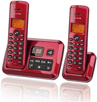Olympia 2144 Certo Twin, Telefono inalámbrico con contestador automático, Color Rojo: Amazon.es: Electrónica
