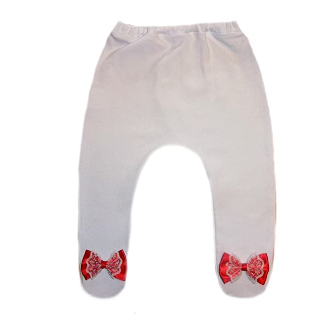 4169e003a Image Unavailable. Image not available for. Color: Jacqui's Baby Girls' White  Tights with Red and White Lace Bows ...