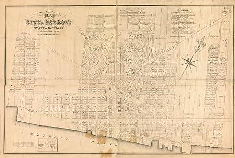 1835 Old Map Land Ownership Development Detroit Michigan - Map Reprint 16