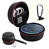 Echo Dot Case, Portable Carrying Travel Bag Protective Hard Case Cover for Amazon Echo Dot (2nd Generation) with Carabiner (Fits USB Cable and Wall Charger), PU-Black (Red Zipper)