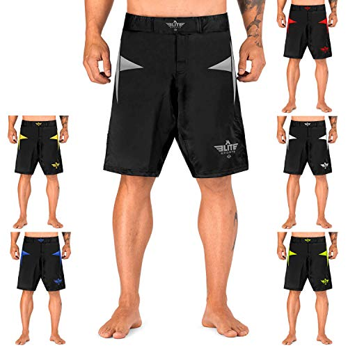 Elite Sports Sublimation Series Fight Shorts, UFC/MMA/BJJ/Muay Thai/WOD/Nogi/Kickboxing/Boxing, Grey, Medium