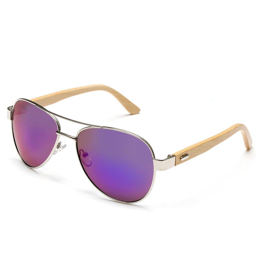 Wood Sunglasses for Man & Woman with Purple Lens + Case,Shangdongpu