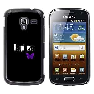 Caucho caso de Shell duro de la cubierta de accesorios de protección BY RAYDREAMMM - Samsung Galaxy Ace 2 - FELICIDAD LINDA MARIPOSA PÚRPURA