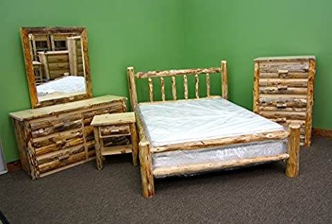 Midwest Log Furniture - Rustic Log Bedroom Suite - Queen - 5pc - Lodge Bedroom Furniture