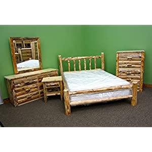 Rustic Pine Log Bedroom Suite - 5pc - King Log Bed