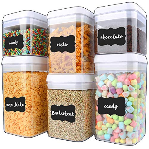 Cereal Container, VERONES 6 Piece Large Airtight Storage Containers Perfect For Flour Container Cereal Keeper (3 Large Size 20 pcs Chalkboard Labels Total 10L)