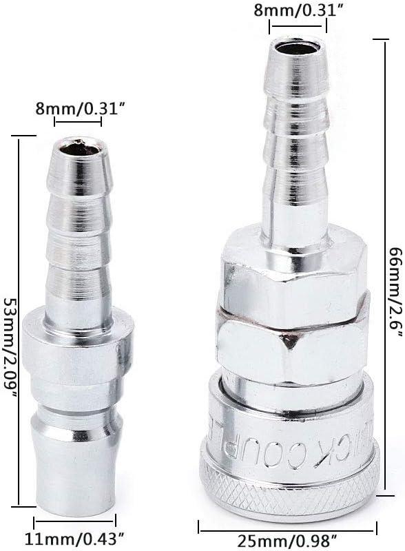 VIccoo 2 pi/èces raccords de coupleur de coupleur /à lib/ération Rapide de Tuyau dair comprim/é pneumatique de 8 mm compresseur