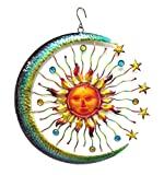Bejeweled Display Large Sun Face, Star & Moon w/ Glass Wall Art Plaque & Home Decor