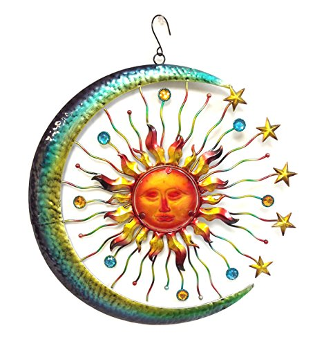 Bejeweled Display® Large Sun Face, Star & Moon w/ Glass Wall Art Plaque & Home Decor (Large Metal Art Sun Wall)
