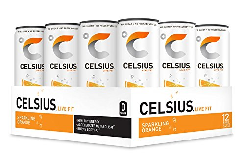 - CELSIUS Sparkling Orange Fitness Drink, ZERO Sugar, 12oz. Slim Can, 12 Pack