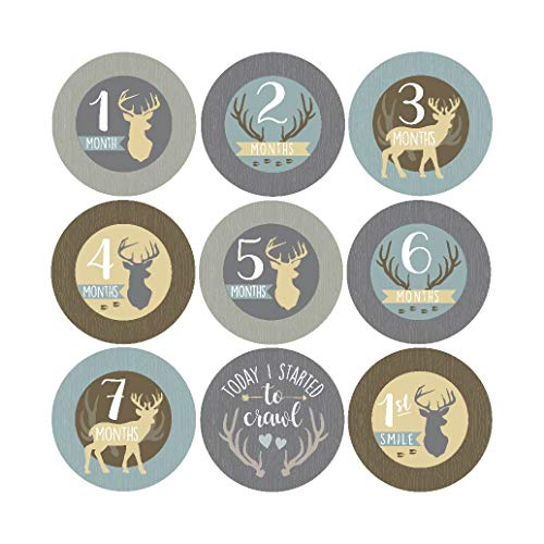 16 Deer Animal Baby Milestone Stickers, 12 Monthly Age Photo Picture Props For Boy Infant Onesie, 1st Year Belly Decals, Scrapbook Memory Registry Gift, Best Shower Basket Present, Buck Hunting -
