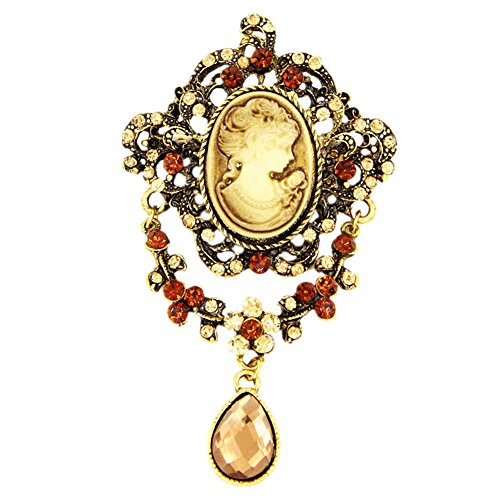 Filigree Cameo Pin - Ever Cute Crystal Pendant Women Cameo Brooches Vintage Flower Rhinestone Filigree Pins