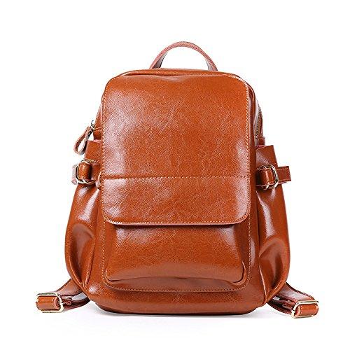 Bolsa De Mochila Cera Negro Bolsa GUANGMING77 Mochila Mochila Femenina brown De Primavera De Aceite Escolar xZHxUwzq