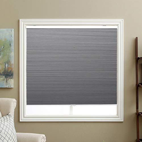 SBARTAR Cordless Cellular Shades Blackout Window Blinds Honeycomb Blinds Fabric 46″ W x 48″ H, Cool Silver(Blackout)