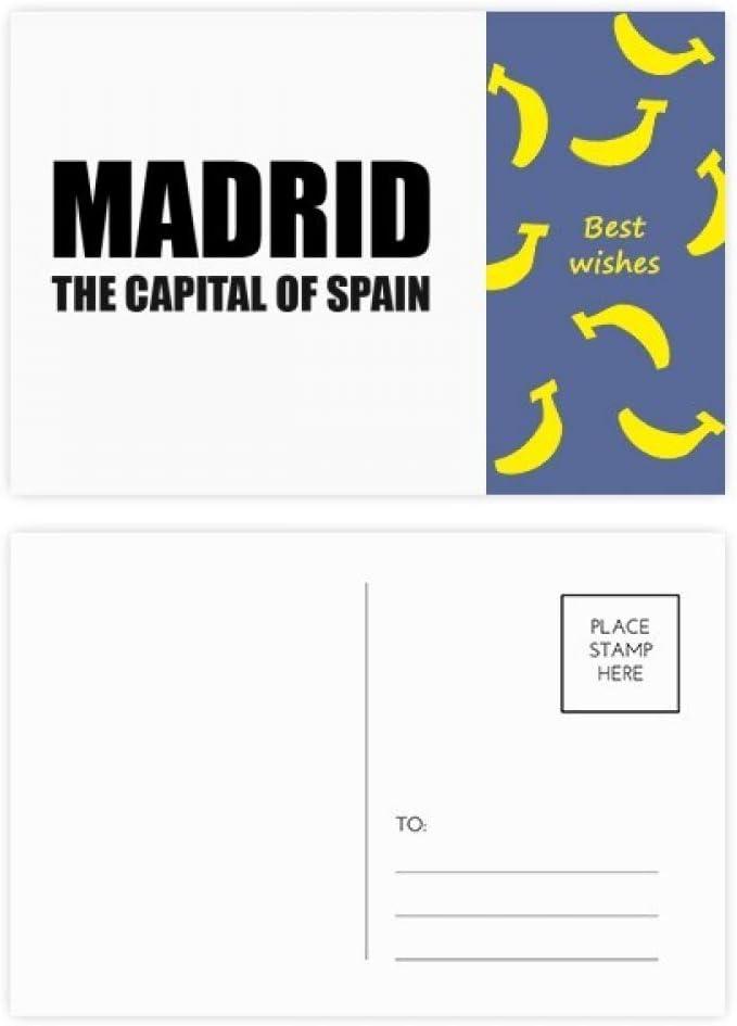 DIYthinker Madrid, la capital de España Tarjeta Gracias plátano tarjetas postales conjunto de correo lateral 20Pcs 5,7 pulgadas x 3,8 pulgadas Multicolor: Amazon.es: Oficina y papelería