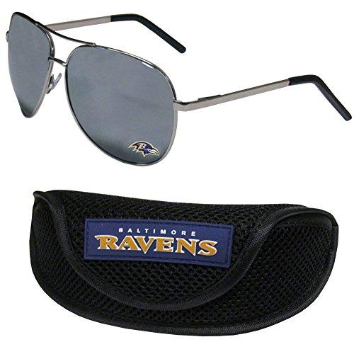 (NFL Baltimore Ravens Aviator Sunglasses & Sports Case)