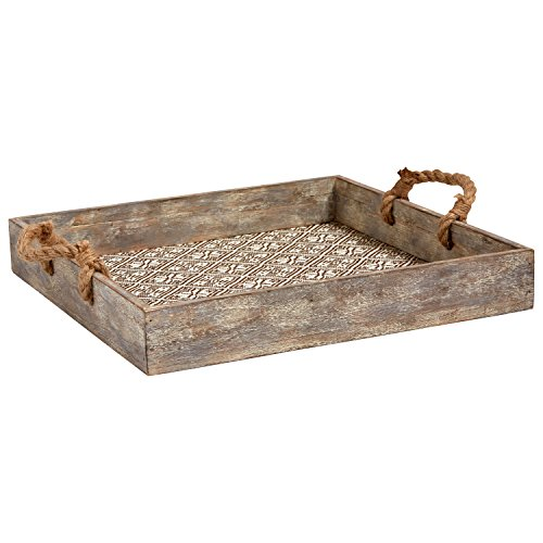 Stone & Beam Rustic Farmhouse Wood Serving Tray With Patterned Rattan and Rope Handles - 15.75 x 15.75 Inches, Brown and White ()