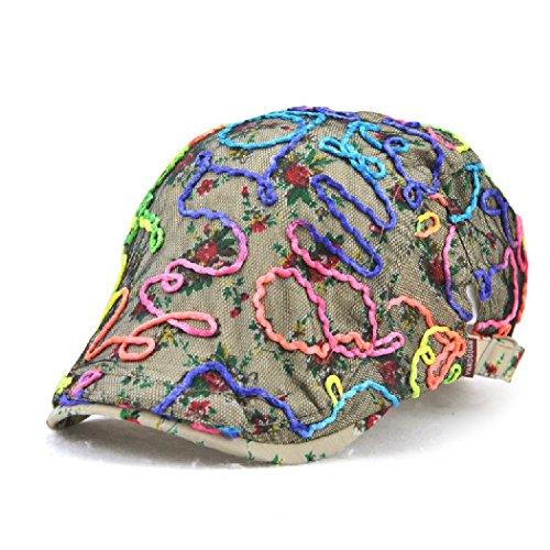 Jamont Women's Spring Florist Lace Color Print Visor Newsboy Beret Cap Hat