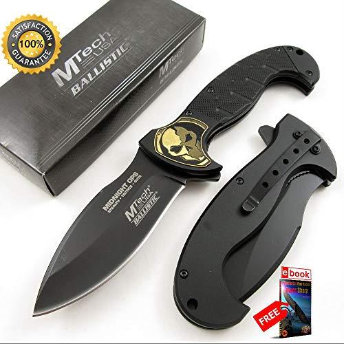 (SPRING ASSISTED FOLDING POCKET Sharp KNIFE Mtech Black Gold Skull Blade Tactical EDC Combat Tactical Knife + eBOOK by Moon Knives)