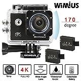 Wimius 4K Action Cam WIFI WebCamera Full HD 1080P 16MP Impermeabile Sport Camera 170 ° Grandangolare 2.0' Schermo LCD con Vari Accessori Nero