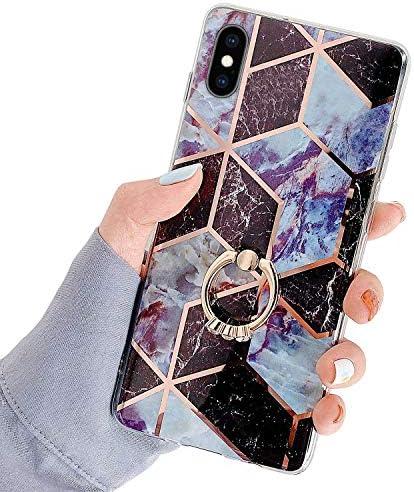 Herbests Kompatibel mit iPhone XS Max Hülle Bunt Marmor Muster TPU Silikon Handyhülle Glänzend Bling Glitzer Diamant Strass Ring Halter Ständer Crystal Case Tasche Schutzhülle,Braun