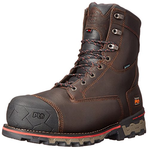 Timberland PRO Men's 8 Inch Boondock Comp Toe Waterproof INS 1000 Work Boot, Brown Tumbled Leather, 9.5 W US